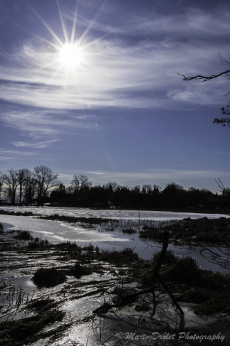 Colour photo of the Rattray Marsh in the winter with a sunburst in the sky