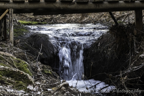 Colour photo of a small creek waterfall under a wooden bridge