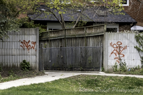 Red graffiti on a concrete will beside an alleyway