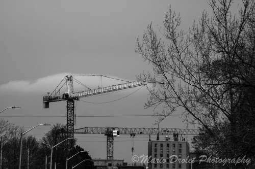Construction crane in the city